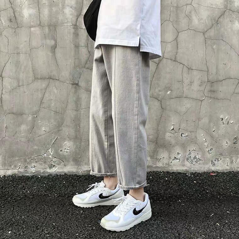 5955f Hosen und Herbst Jeans lose gerade hellgrau weiß Neue und Jeans der beiläufigen Männer vielseitig trendy knöchellangen Herren-Frühling