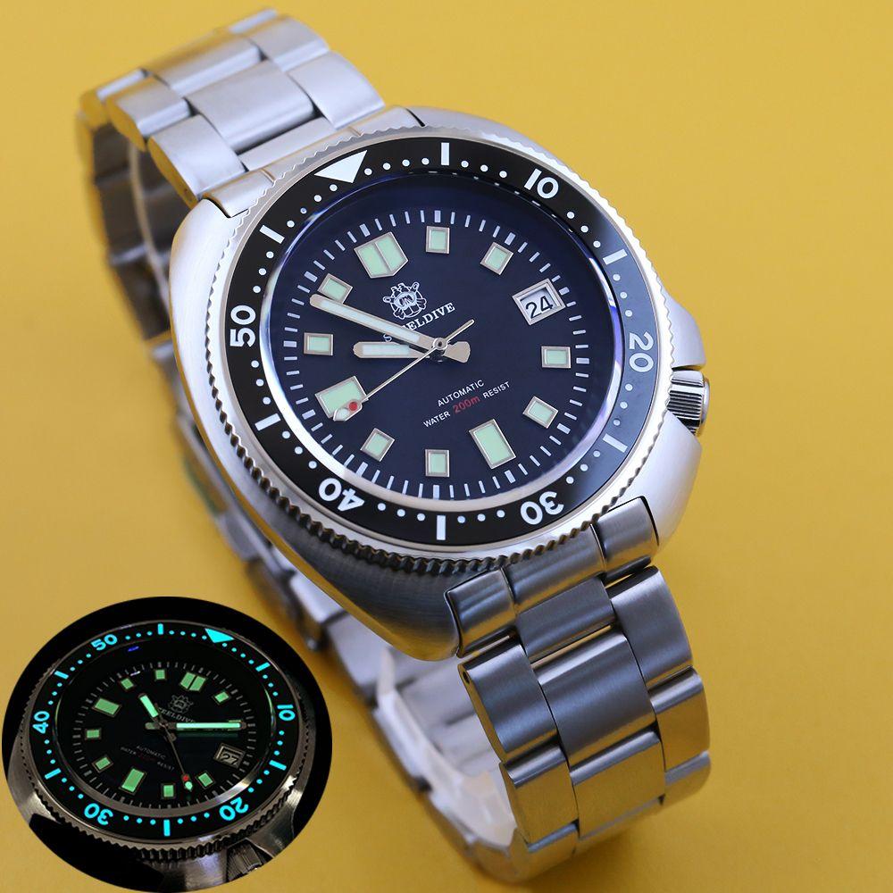 orologio STEELDIVE 200M vigilanza di tuffo Automatic Mechanical Men NH35 Giappone C3 Super luminoso Diver uomini della vigilanza orologi in acciaio inox T200812