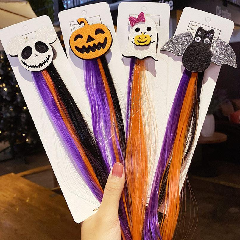 Hallowmas partido meninas miúdos peruca colorida grampos de cabelo hairpin Halloween barrette headress Santo Cat Bat Cabelo abóbora pins acessórios D82706
