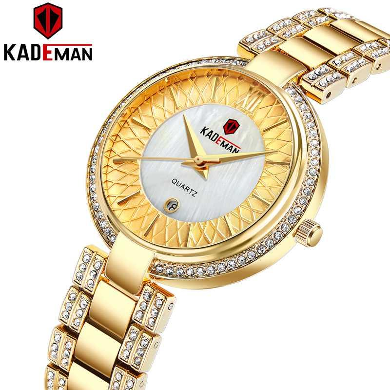 Nova Chegada Top KADEMAN Mulheres Quartz Assista Data Moda pulso Ladies Cristal Diamante Waterproof Montre Femme