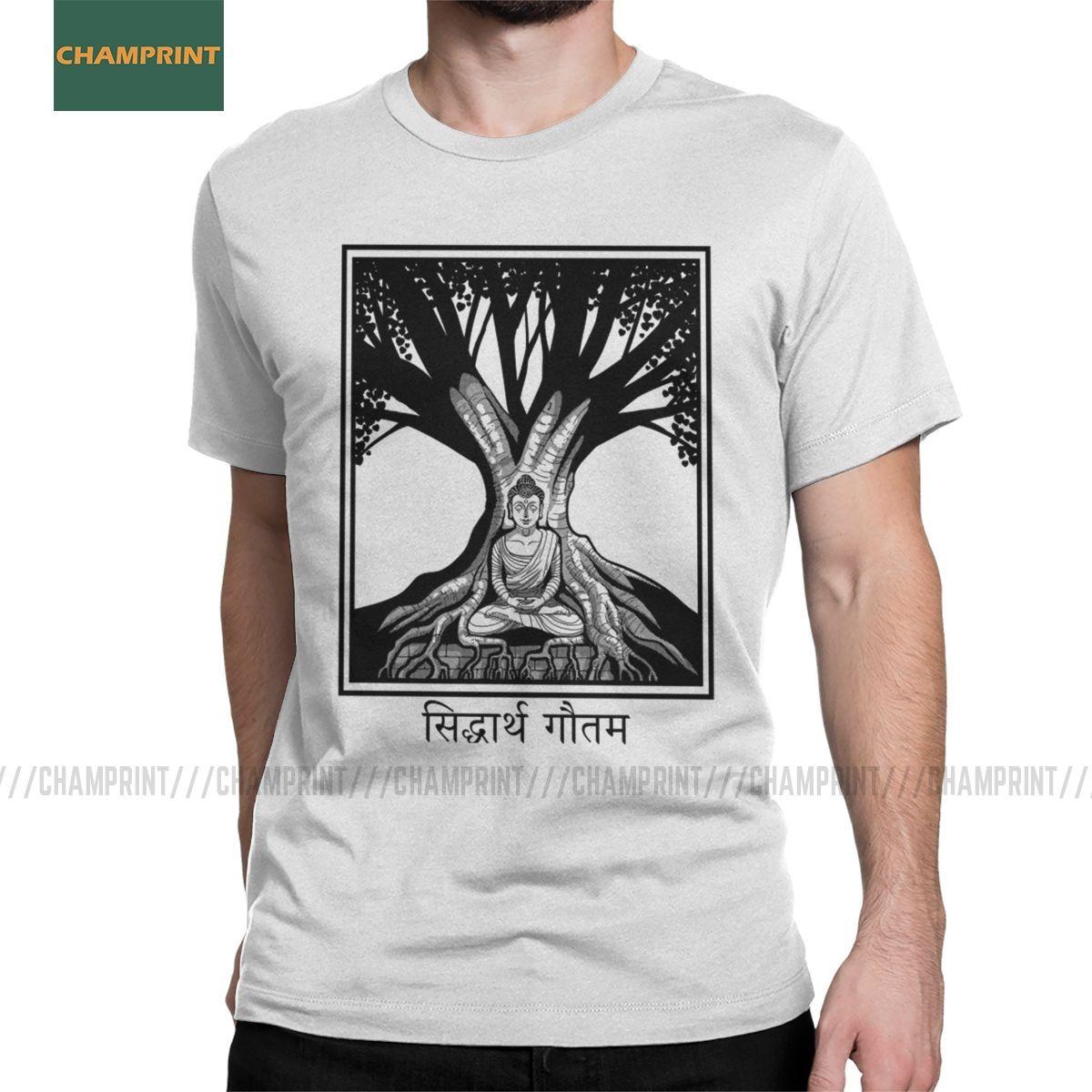 Erkekler Tişörtler Buda Ve Bodhi Ağacı Casual Pamuk Tees Kısa Kollu Meditasyon Zen Ruhsal Budizm Tişörtlü Artı boyutu