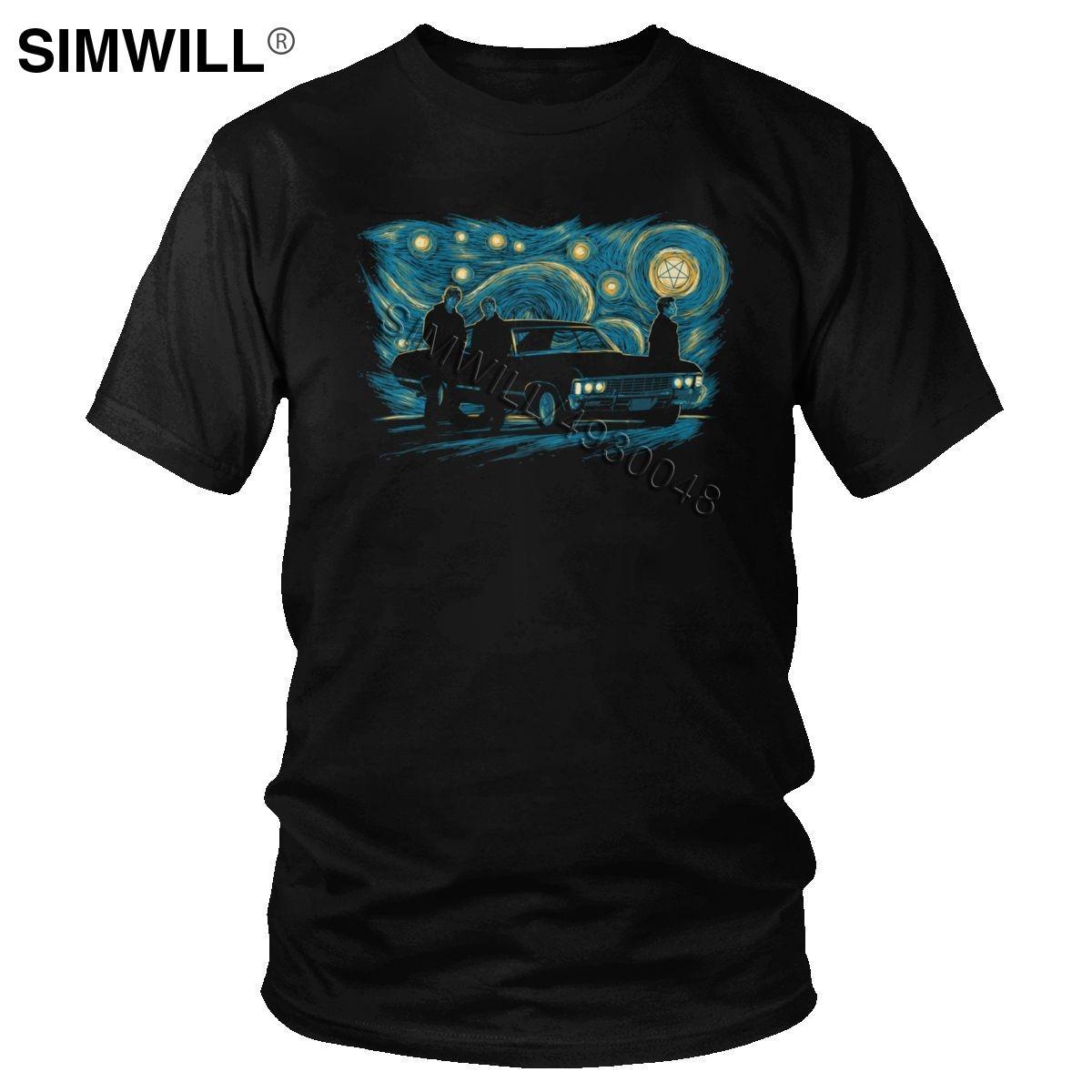 Hommes Starry Night Supernatural T-shirt des hommes Winchester Bros T-shirt manches courtes coton respirant T-shirt Parodie TV T-shirt Habillement