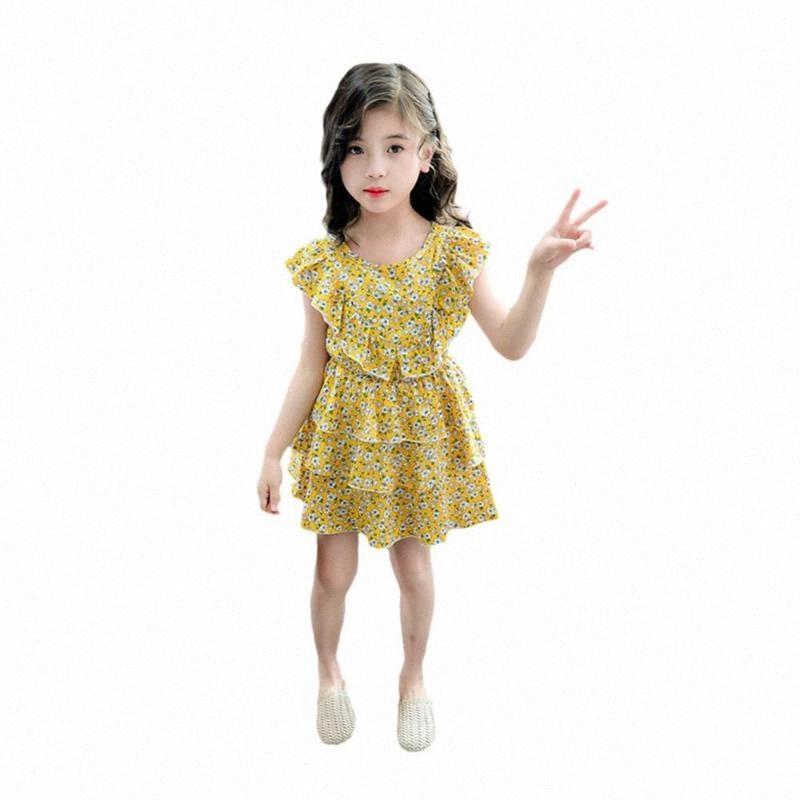 La niña de vestido sin mangas de impresión de la flor vestido de la princesa del niño lindo floral de verano para niñas DDPF #