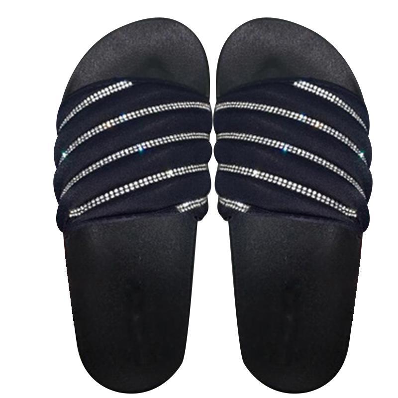 Femmes Brillant Agrémentée Glissement Sandales Slipper Tongs Chaussures plates Summer Beach XRQ88