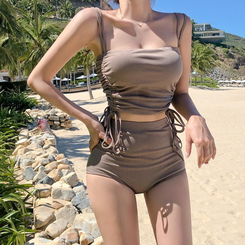 GObK1 WsRdZ Temperamento cor sólida 2020 coreana dividida nova cobertura traje de banho quente da barriga da cintura primavera emagrecimento cordão reunindo hig triângulo