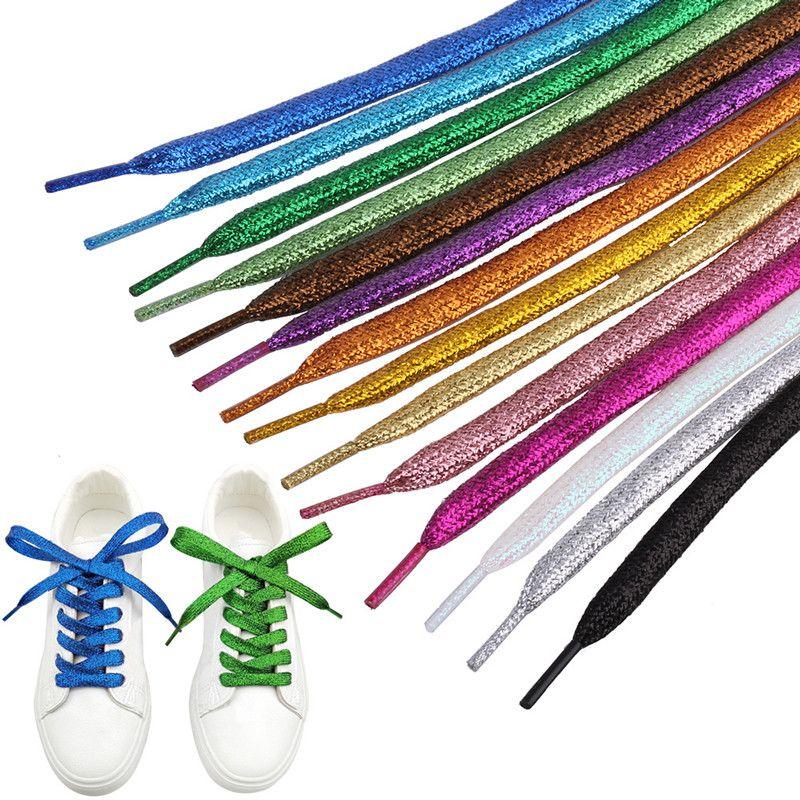 لامعة الذهب والفضة الخيط رباط الحذاء بريق أربطة الحذاء شقة سباركلي الملاحات الألوان تلمع 120CM الأربطة الأحذية الملونة