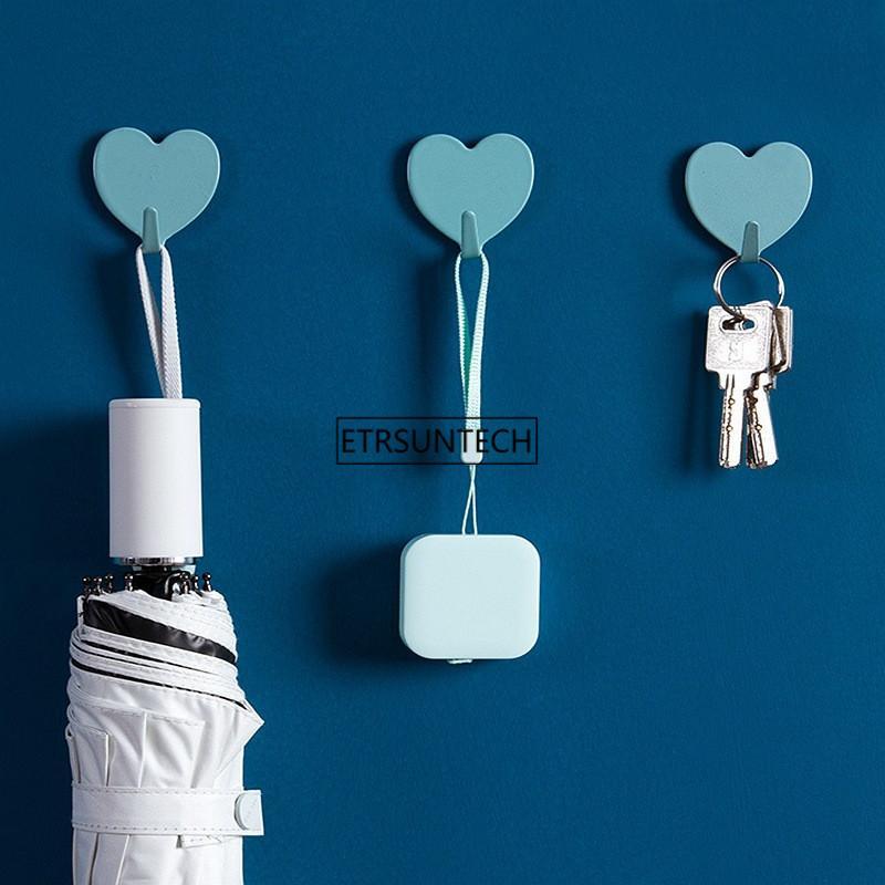 30set Carino Holder montaggio a parete chiave a forma di cuore decorativi in acciaio inossidabile Gancio Keys gancio Home Decor Ganci
