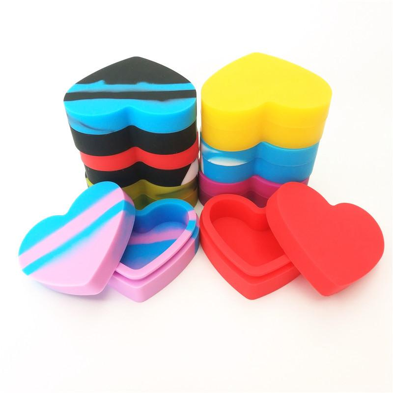 Силиконовые Dab Контейнеры 17ml Heart Shaped Make Up Коробка для хранения Эфирное масло бак Case Новое прибытие 3 5BS D2