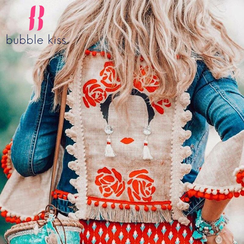 Women Jacket Denim Jackets Coats Bohemian Fashion Long Sleeve Women's Jacket Loose Design Sense Sweet Ladies Coat Female Tops