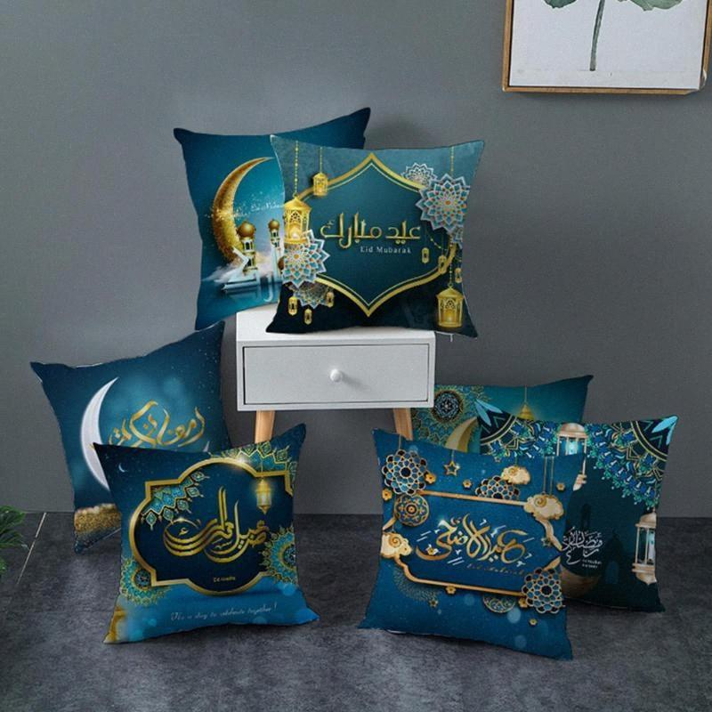 Muslim Ramadan Pillowcase Digital Printing Peach Skin Cushion Cover Home Festival Decoration 7qAO#