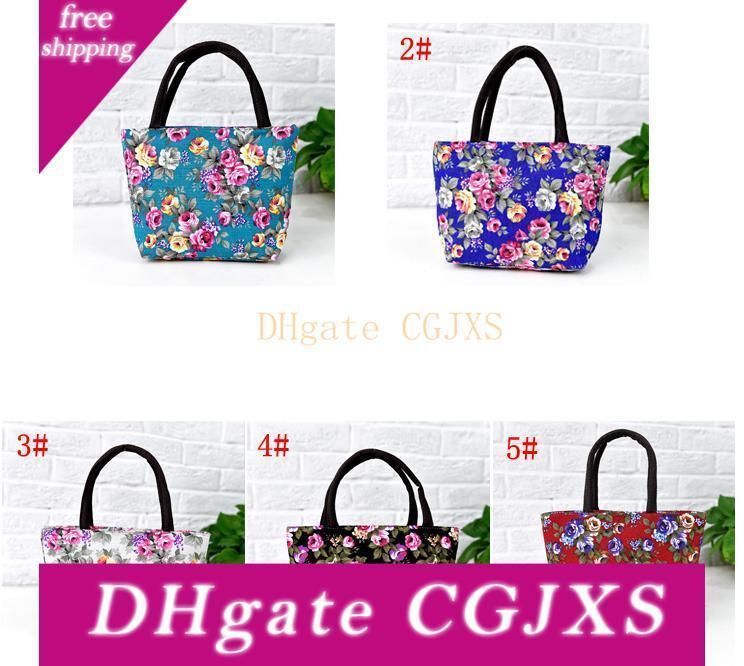 Floral étnica Ombro Único Handbag Bolsa Flor Mulheres de compras reusáveis portátil Bolsas almoço sacos Ffa3701