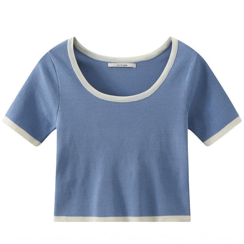 9tAvu цвета Contrast лед шелк трикотаж трусы футболка Трусы женщины 2020 Летний короткий случайный тонкий интерьер верхнего большая U-воротник кратко-