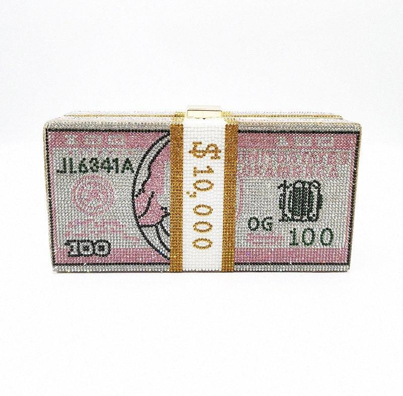 Bolso de noche cristalino rosado Sugao de lujo del bolso de hombro de Bling del partido bolso Superior Diamond Boutique Dólares manera de las mujeres del día de boda del bolso de embrague 4HNY #