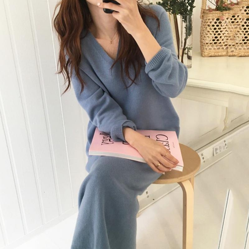 Camisola do inverno vestido de mulher Grosso malha Partido vestido longo Plus Size elegante coreano Vintage Long Sleeve Hetero camisola V725
