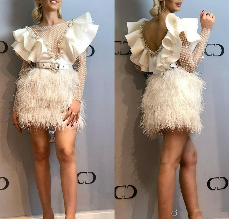 2020 Ivory Short Prom Dresses Jewel Neck A Line Crystal Feather Cutaway Sides Cocktail Party Dress Women Wear