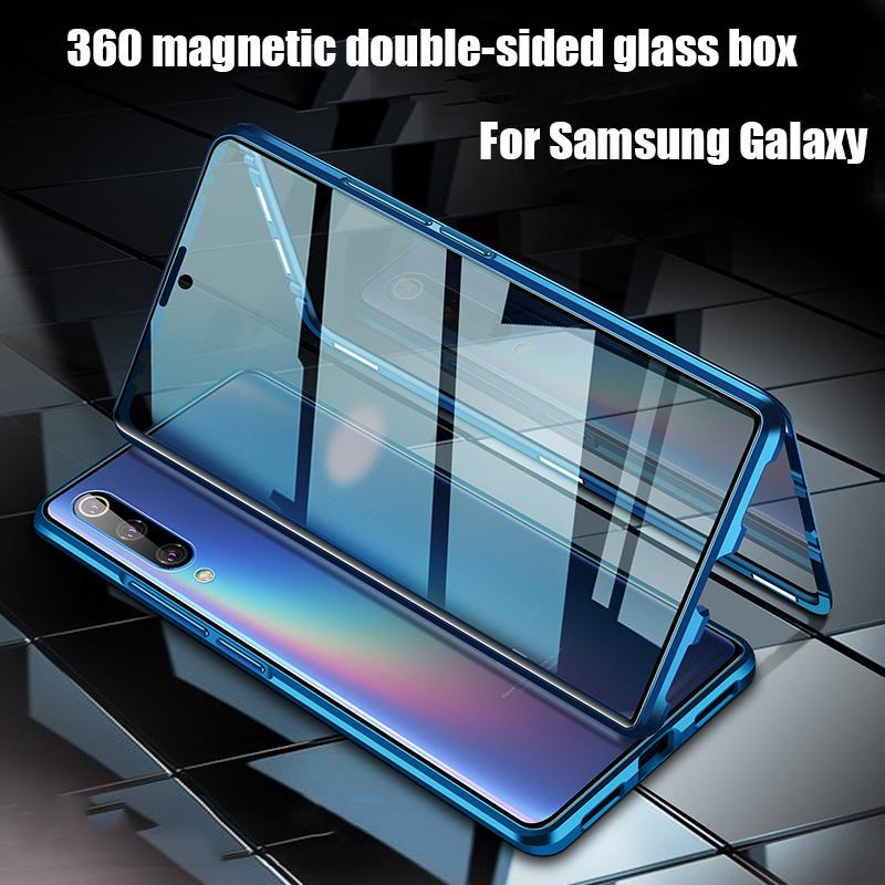 Magnetic metal Adsorção Double-Sided de vidro capa para Samsung S20 S10 S9 S8 S10E Além disso A51 A50 A71 A70 A31 A30 M31 A7 A9 2018 M21