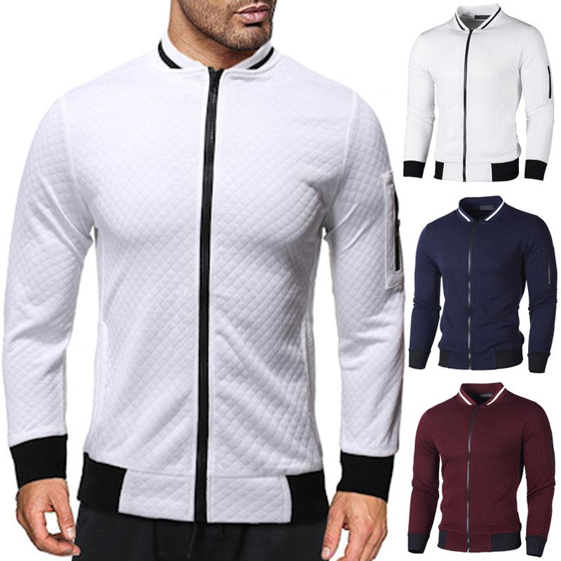 Осень Зимняя куртка Мужчины 2020 Новый вскользь тонкий Твердая Zipper Кардиган куртки и пальто с длинным рукавом Streetwear пальто Мужчины Верхняя одежда