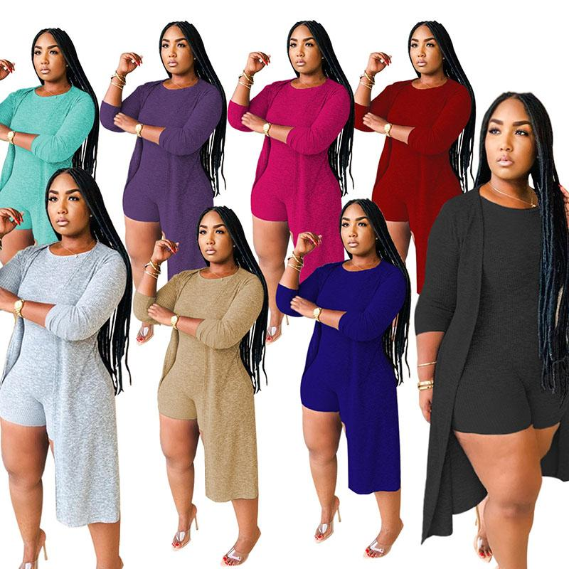 2020 nuovo autunno delle donne del vestito caldo Modello Solido-colore O-collo della tuta maniche lunghe cappotto europei e americani Set 2 pezzi