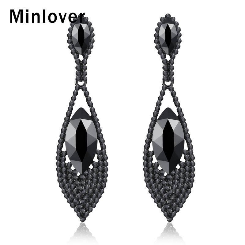 Pendientes largos de cristal de color Minlover Moda Negro para MEH1034 joyería de las mujeres florero cuelga los pendientes en forma de lágrima Rhinestone de la vendimia