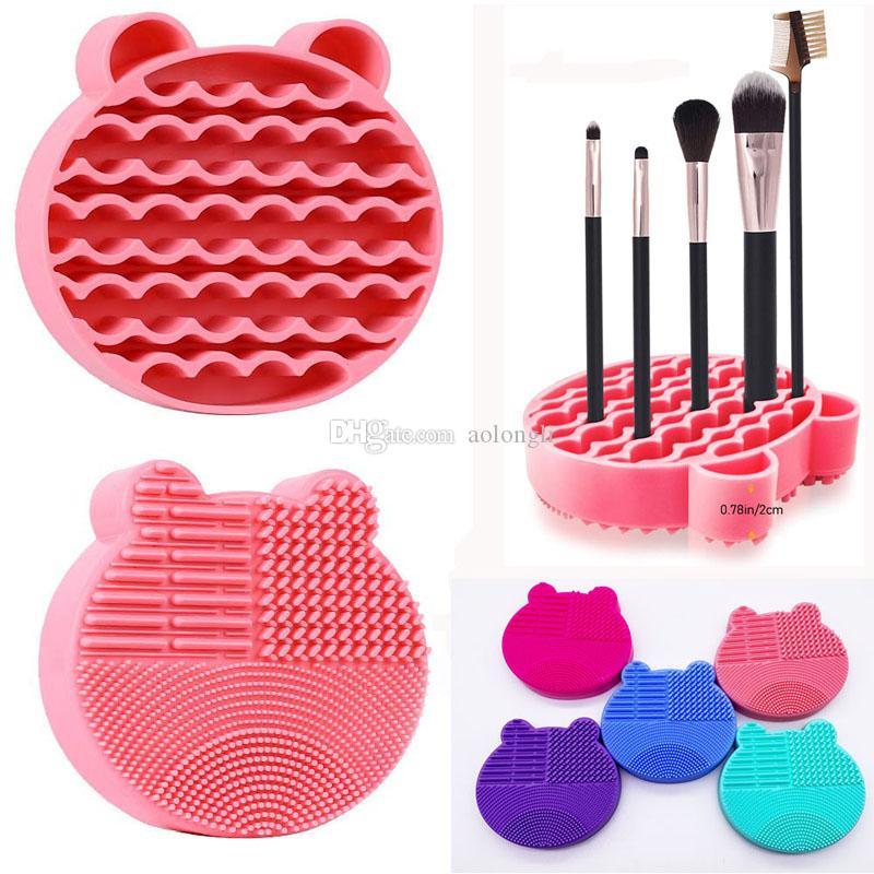 Maquillage Brosses de nettoyage Brosse de lavage silicone Pad 2 en 1 Nettoyant pinceau cosmétique Mat séchoir à plateaux brosse pad Scrubber nettoyage Make Up outil