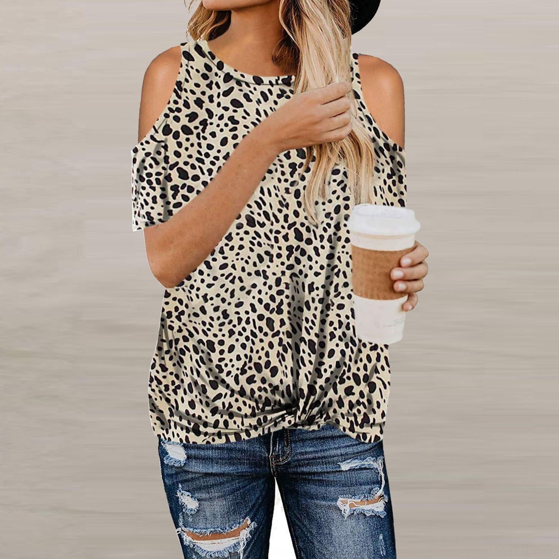 tl0ba 2020 Frühling und Sommer-T-Shirt der neuen Frauen Leopard printshoulder kurze Ärmel knicken Frauen-T-Shirt