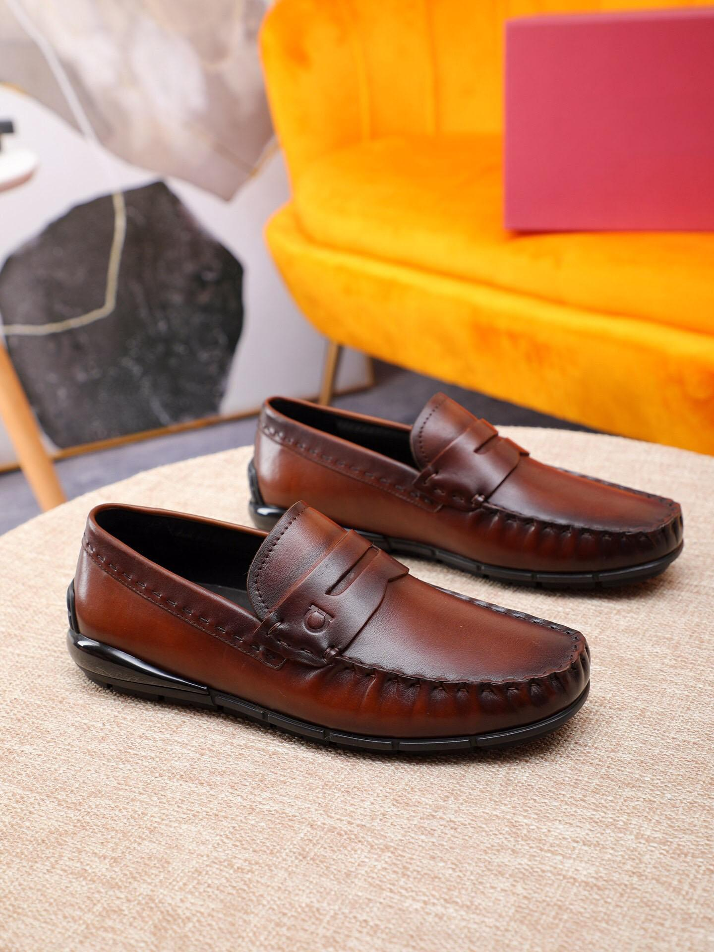 Robe élégante 2020 hommes Parti de mariage Chaussures de haute qualité de marque en cuir véritable Formal Oxford Business Flats Taille 38-44
