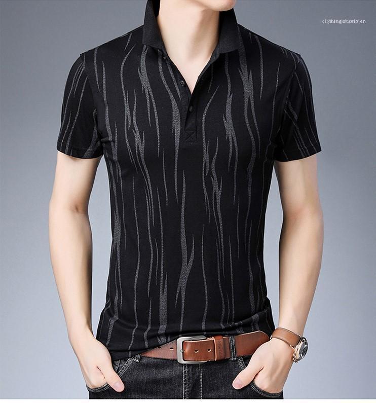 Chemises Mode d'été desserrées Boutons Hommes Chemises habillées à manches courtes hommes Vêtements rayé Imprimer Mens Casual