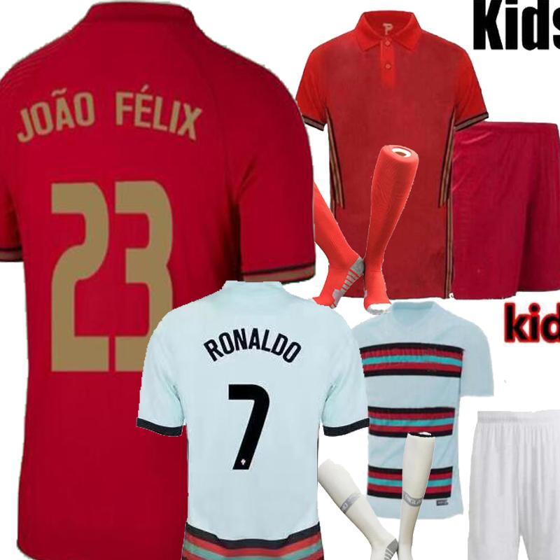 Nations League Portogallo RONALDO Joao Felix Home Away Kids kit Soccer jersey 20 21 Joao Felix Kids camisa de futebol Football Shirts 2021
