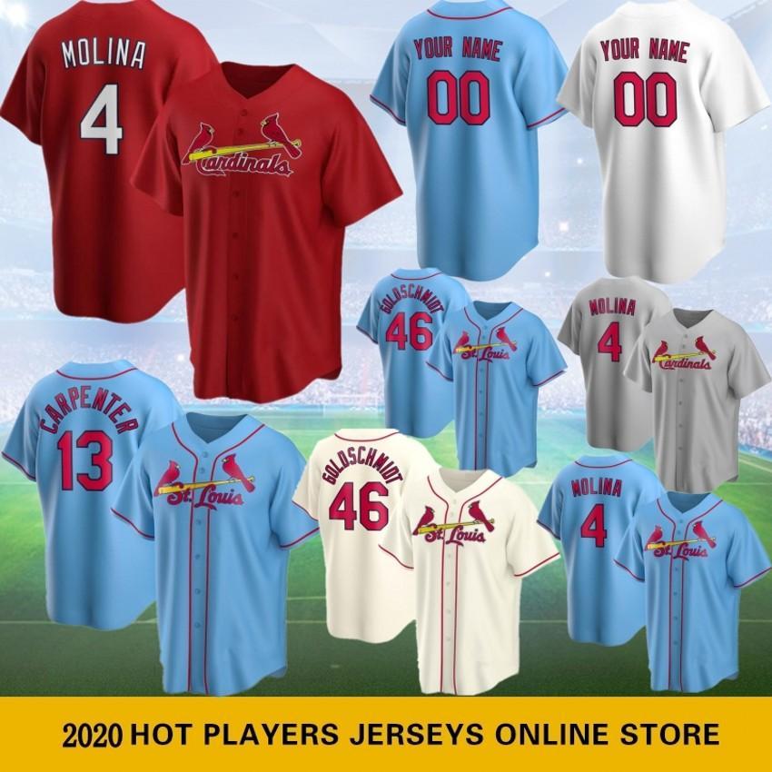 46 Paul Goldschmidt Custom Beyzbol Jersey 4 Yadier Molina Erkekler Beyzbol Formalar 1 Ozzie Smith 25 Dexter Fowler 13 Matt Carpenter Sıcak