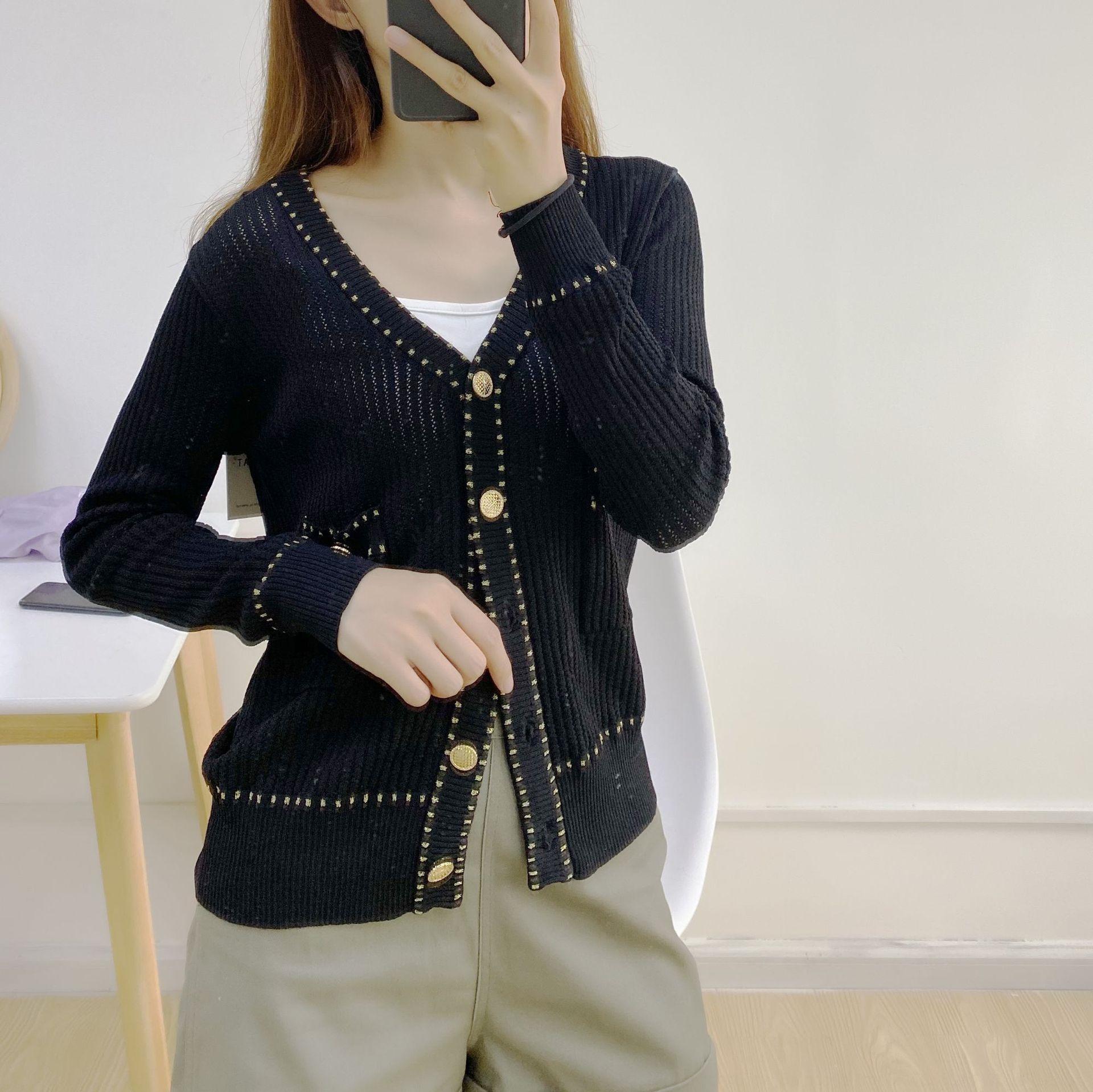 5F4GS Van Yi outono roupas e verão coat 2020 graciosa Silk Ice cor sólida oca casaco cardigan de malha fina de Mulheres