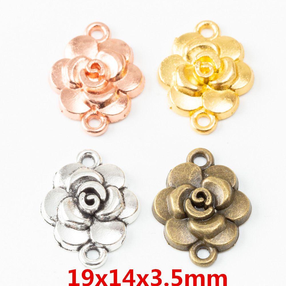 50pcs 19*14MM Silver color rose flower connector charm vintage bronze pendant for bracelet earring necklace diy jewelry making