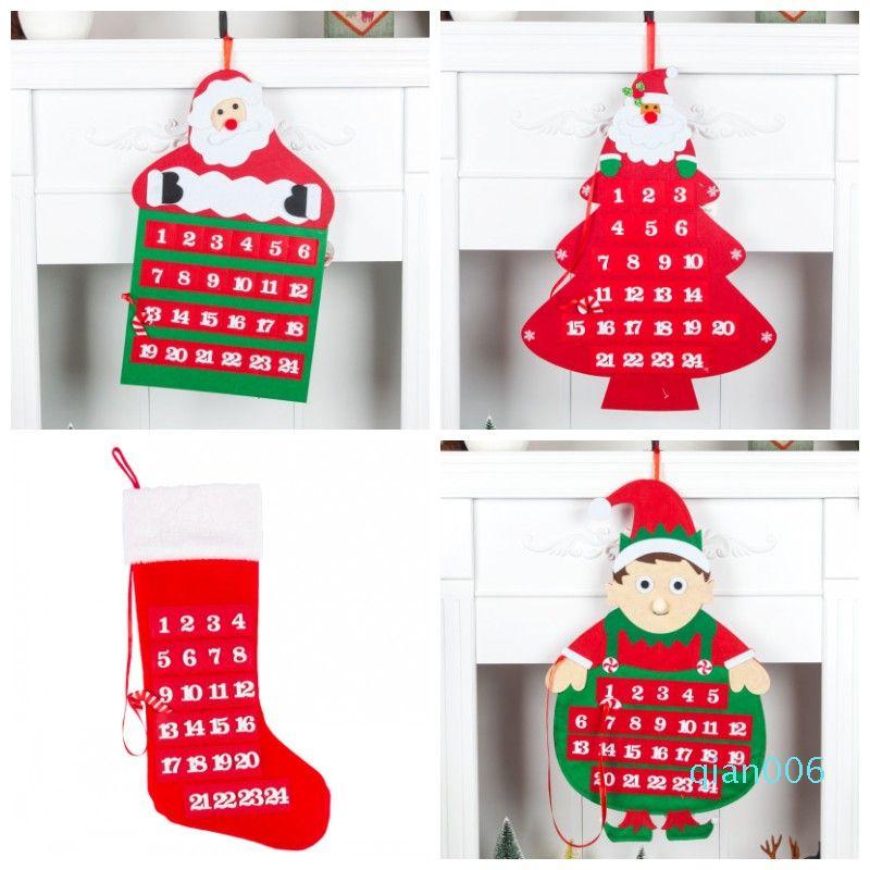 Maison de Noël Pendant le compte à rebours Calendrier de Noël Calendrier de l'avent multi forme portes suspendues Décore Fashion Design Hot Vente 17yhH1