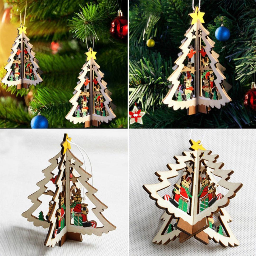 Legno Decorazione natalizia Natale pendente dell'albero 2PCS 3D ornamenti d'attaccatura del partito della decorazione della casa