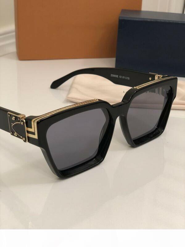 MILLIONAIRES kadınlar erkekler Parlak Altın Logo Lüks MILLIONAIRES GÖZLÜKLER Siyah Yepyeni tam çerçeve Vintage tasarımcı güneş gözlüğü