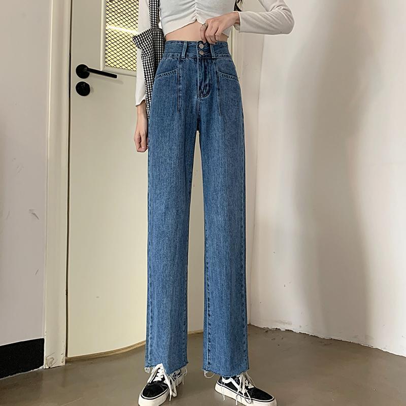 2020 versión coreana nueva caída de talle alto de pierna ancha pantalones vaqueros para las mujeres con sueltas de doble botonadura Denim Pantalones