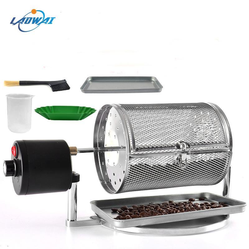 Elektrische Coffee Roasters Edelstahl Kaffeebohne Braten Maschine Popcorn Nüsse Getreide Bohnen Backen Drehgeschwindigkeit einstellen