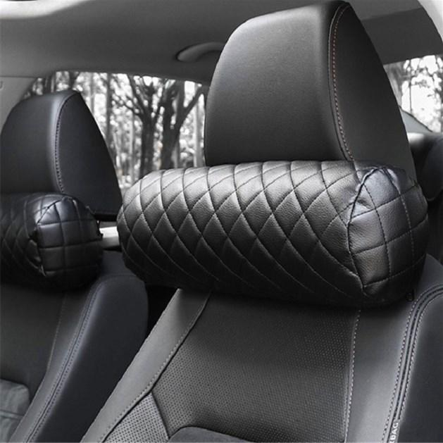 Memory Foam Car Neck Pillow PU Leather Auto Cylindrical Office Chair Bolster Headrest Supports Cushion Pad Black