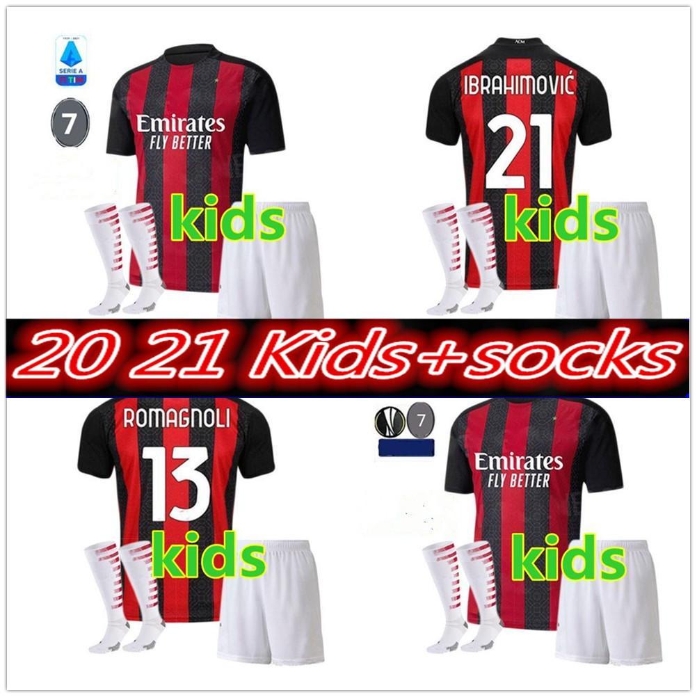 AC 2020 2021 Milan Ibrahimovic Soccer Jerseys Set 20 21 Jeunes enfants Pateque Paquetta Theo Rebic Football Shirts Kit Enfants Kit Uniformes