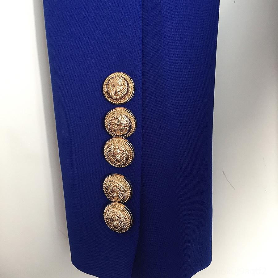 rxbTW VKYmz синего подиум металла голова лев пальто короткого coatdouble груди тонкого пальто маленького костюм короткие подходит сапфир 2020