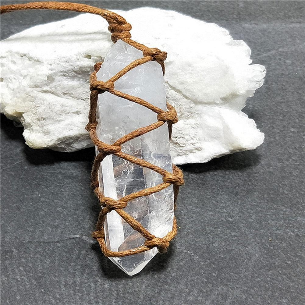 Amethyst blanc naturel cristal de quartz colonne pendentif en pierre de guérison du Reiki Tentures Craft Avec Weave corde