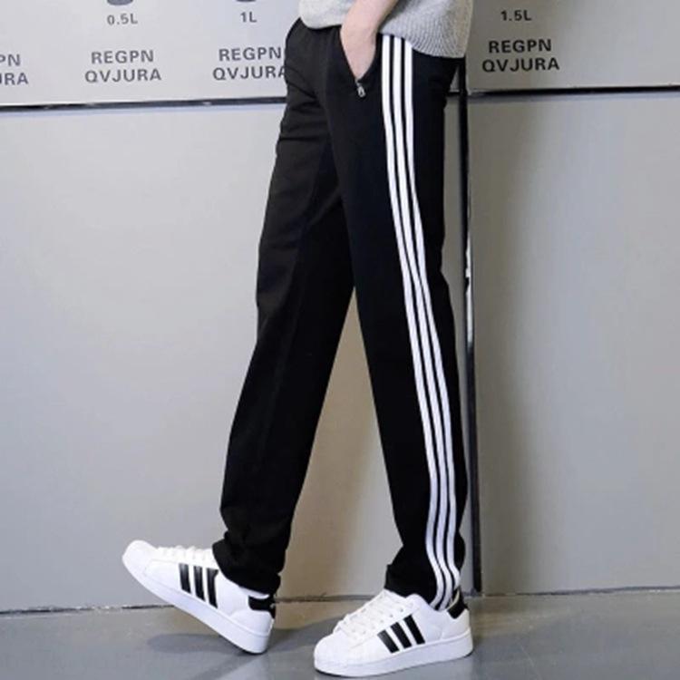Dreibarrigen Baumwollbeiläufigen Terry koreanischen Art der beiläufigen losen Schulsport gerade läuft Schweiß Hosen der Männer Sporthose UWeH9