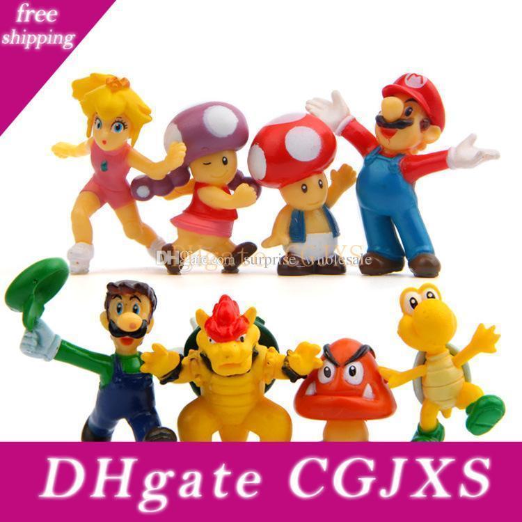 8pcs / Conjunto Mario Bros 2 Acção Figuras Mario Luigi cogumelo sapo Princesa Acção Figura Mario Yoshi PVC para crianças Brinquedos