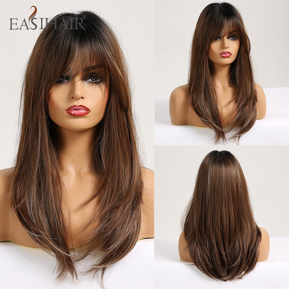 qualityWigs with Bangs Heat Resistant Long Straight Synthetic Wigs Mixed Brown and Blonde for White/Black Women Cosplay wigs
