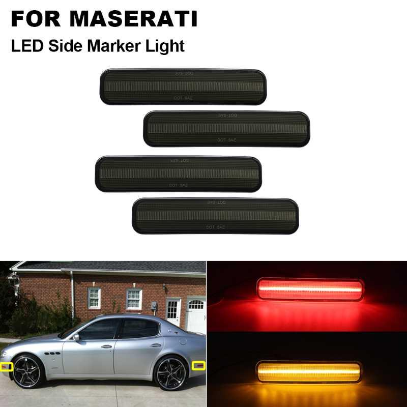 4Pcs Smoked Amber(Front)&Red(Rear) LED Side Marker Bumper Light Kit For Maserati Quattroporte 2004 2005 2006 2007 2008 2009