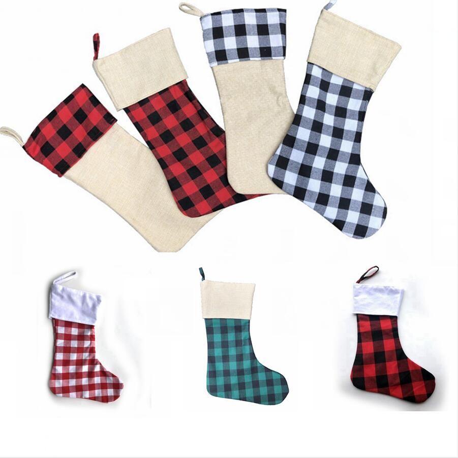 Süsleme Yeni Yıl Yılbaşı Ağacı Dekoru Deniz Kargo DDA602 Asma Noel Ekose Baskı Çorap Çorap Şeker Hediye Çanta Noel Ağacı