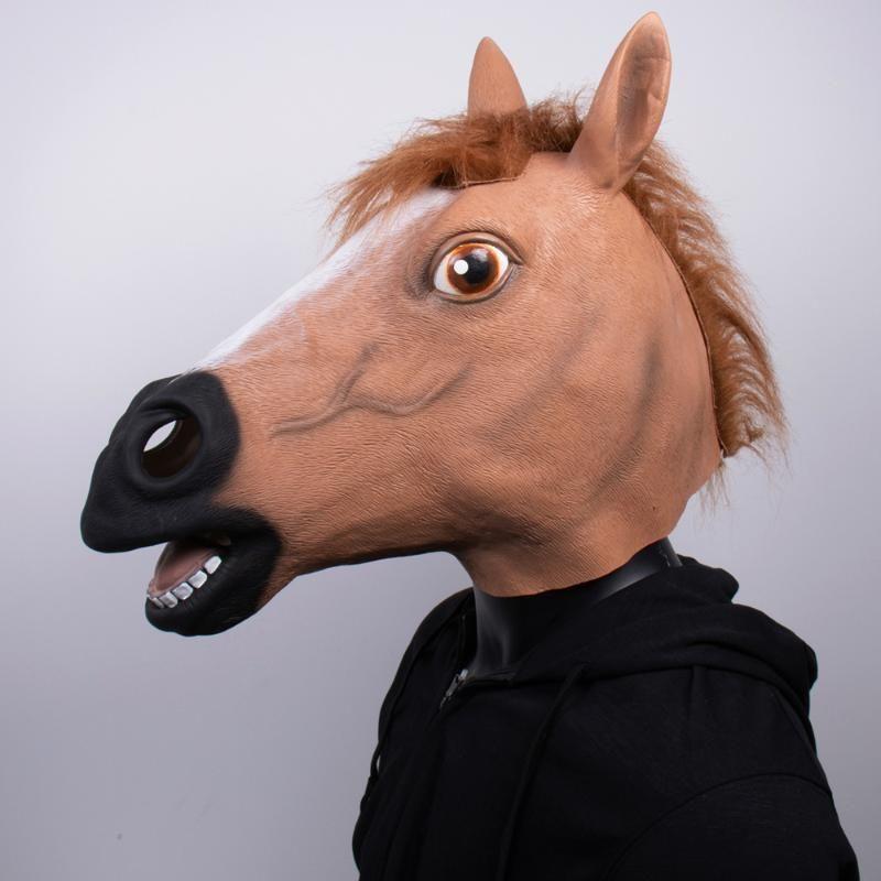 At Maskesi Ürpertici At Başkanı Kauçuk Lateks Hayvan Yenilik Cadılar Bayramı Kostüm Maske