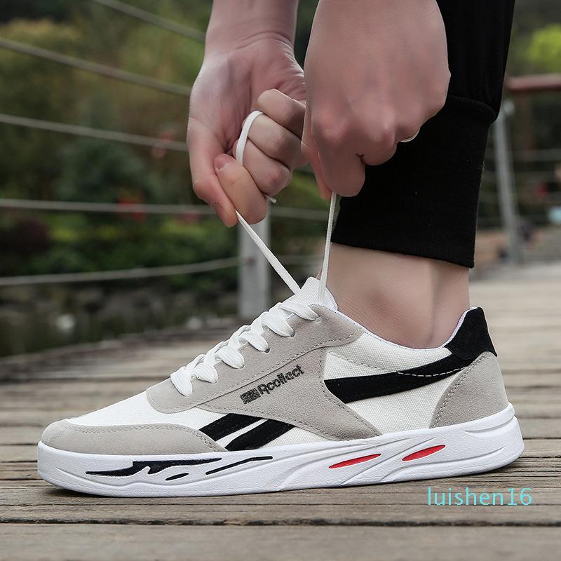 iBreathable Toile de base Chaussures Hommes Chaussures bout rond à lacets Chaussures Hommes Casual Sneakers Zapatillas Hombre de L16