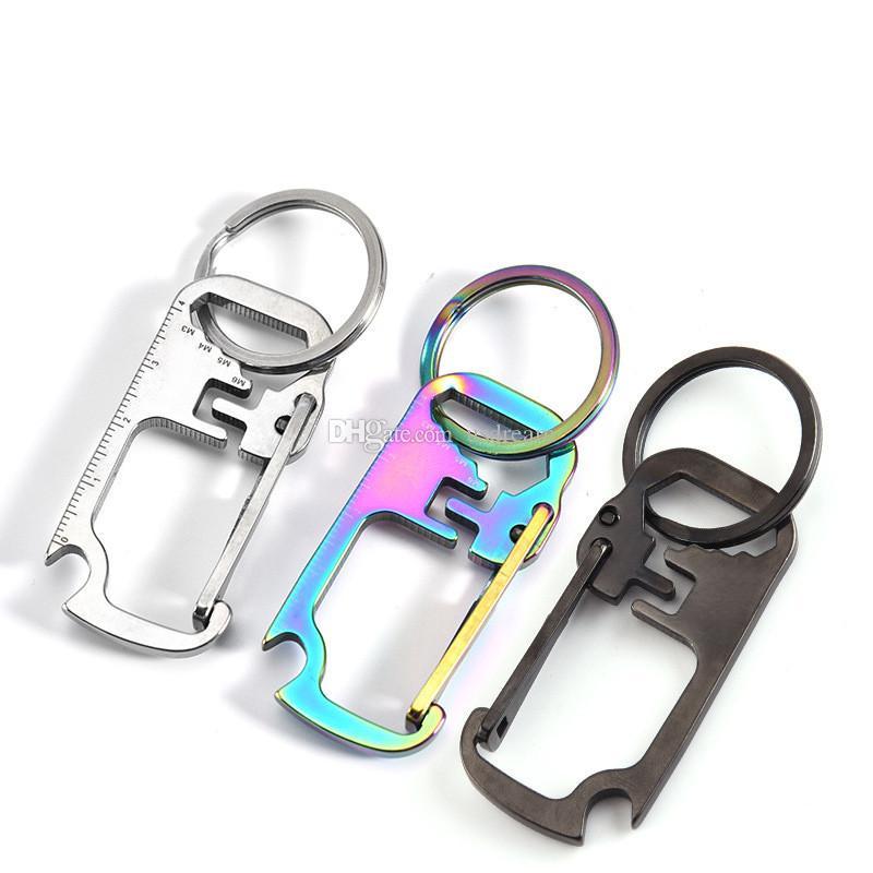 스테인레스 스틸 다기능 키 체인 병 오프너 통치자 렌치 열쇠 고리 야외 등반 키 체인 패션 쥬얼리 의지와 새로운 모래
