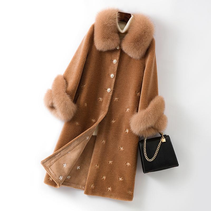 Abiti larghi ricamato del rivestimento delle signore di marca 2020 Nuovo Inverno donne bianco naturale pelliccia Tosare Pelliccia moda caldo