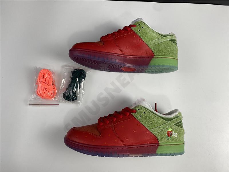 2020 alta Strawberry Cough SB Dunk verde rojo de los zapatos del patín de los hombres al aire libre cómoda de la manera Hombre Womans Trainer zapatillas CW7093-600